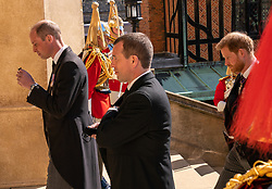 The Duke of Cambridge, Peter Phillips and The Duke of Sussex walk up the West Steps outside St George's Chapel, Windsor Castle, Berkshire, ahead of the funeral of the Duke of Edinburgh. Picture date: Saturday April 17, 2021.