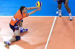 Andrej Flajs of ACH Volley at volleyball match of CEV Indesit Champions League Men 2008/2009 between ACH Volley Bled (SLO) and Beauvais Oise (FRA), on December 11, 2008 in Hala Tivoli, Ljubljana, Slovenia. (Photo by Vid Ponikvar / Sportida)