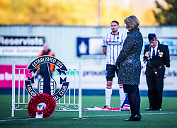 Dunfermline Athletic FC Chairman, Ross McArthur and Falkirk FC Chairman, Margaret Lang lay a wreath at the Brockville Gate followed by a pause for a moment of silence. Falkirk 1 v 1 Dunfermline, Scottish Championship game played 4/5/2017 at The Falkirk Stadium.