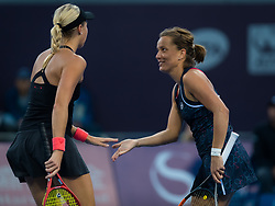 October 3, 2018 - Barbora Strycova & Andrea Sestini Hlavackova of the Czech Republic in action during their doubles match at the 2018 China Open WTA Premier Mandatory tennis tournament (Credit Image: © AFP7 via ZUMA Wire)