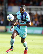 Josh Umerah of Wycombe Wanderers in action. EFL Skybet football league two match, Newport county v Wycombe Wanderers at Rodney Parade in Newport, South Wales on Saturday 9th September 2017.<br /> pic by Andrew Orchard, Andrew Orchard sports photography.