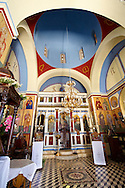 Interior of the Greek Orthodox Monastery of Kastariani for the Assumption of the Virgin Mary, Kea Greek Cyclades Islands .<br /> <br /> Visit our GREEK HISTORIC PLACES PHOTO COLLECTIONS for more photos to download or buy as wall art prints https://funkystock.photoshelter.com/gallery-collection/Pictures-Images-of-Greece-Photos-of-Greek-Historic-Landmark-Sites/C0000w6e8OkknEb8