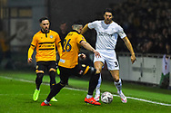 George Friend (3) of Middlesbrough takes on Regan Poole (26) of Newport County during the The FA Cup match between Newport County and Middlesbrough at Rodney Parade, Newport, Wales on 5 February 2019.