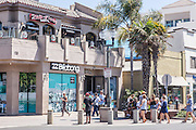 Tourists and Locals on Main Street in Huntington Beach California