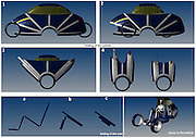 The Folding Car! <br /> The two-seater Soleil City Car concept, a collaboration project between designer Caghan Engin Cesmeci and Emre Gurel, aims at providing a space efficient transport option for historical cities with narrow streets. Since it would be virtually impossible to widen the streets in neighbourhoods with historic buildings, a city car that makes the best use of the existing space holds a lot of merit. The high tech minimalist vehicles offer users an easy to drive transport option when on road and when no longer in need they can simply be folded into a luggage like bag and stored. <br /> ©Michelin Challenge/Exclusivepix