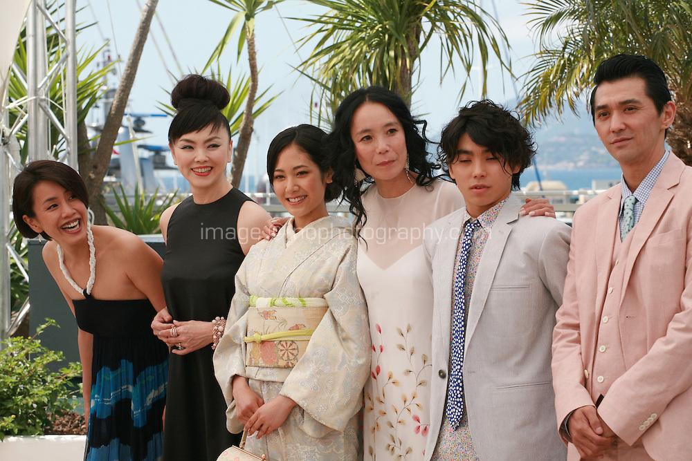 Makiko Watanabe, Miyuki Matsuda, Jun Yoshinaga, Naomi Kawase, Nijiro Murakami and Jun Murakami  at the photo call for the film Still The Water (Futatsume No Mado), at the 67th Cannes Film Festival, Tuesday 20th May 2014, Cannes, France.