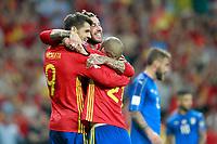 Spain's Alvaro Morata, Sergio Ramos and David Jimenez Silva celebrate goal during FIFA World Cup 2018 Qualifying Round match. September 2,2017.(ALTERPHOTOS/Acero)