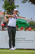 Yuxin LIN (CHN) watches his tee shot on 12 during Rd 4 of the Asia-Pacific Amateur Championship, Sentosa Golf Club, Singapore. 10/7/2018.<br /> Picture: Golffile | Ken Murray<br /> <br /> <br /> All photo usage must carry mandatory copyright credit (© Golffile | Ken Murray)