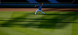 June 21, 2017 - Los Angeles, California, U.S. - Los Angeles Dodgers pitcher warms up in the outfield prior to a Major League baseball game against the New York Mets at Dodger Stadium on Wednesday, June 21, 2017 in Los Angeles. Los Angeles. (Photo by Keith Birmingham, Pasadena Star-News/SCNG) (Credit Image: © San Gabriel Valley Tribune via ZUMA Wire)