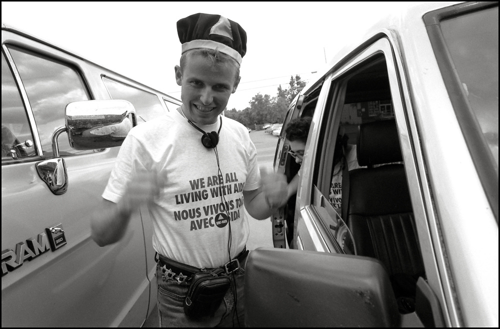 Bobby O'Malley from ACT UP NY en route to Montreal where they stormed the Fifth International AIDS Conference in Montreal, at the time a members-only event for doctors and HIV/AIDS researchers. They took over seats reserved for dignitaries, and released their first Treatment and Data report calling for speedier access to AIDS drugs. June 4, 1989