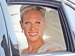 Zara Phillips pictured in a car on the Royal Mile after emerging from Canongate Kirk in Edinburgh after her wedding to Mike Tindall.