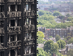Grenfell Tower in west London after a fire engulfed the 24-storey building yesterday morning.
