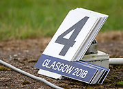 """Glasgow, Scotland, """"2nd August 2018"""", """"Spare Bow Numbers, to replacelost No.'s when the boat line up for the sttart of their races, European Games, Rowing, Strathclyde Park, North Lanarkshire, © Peter SPURRIER/Alamy Live News"""