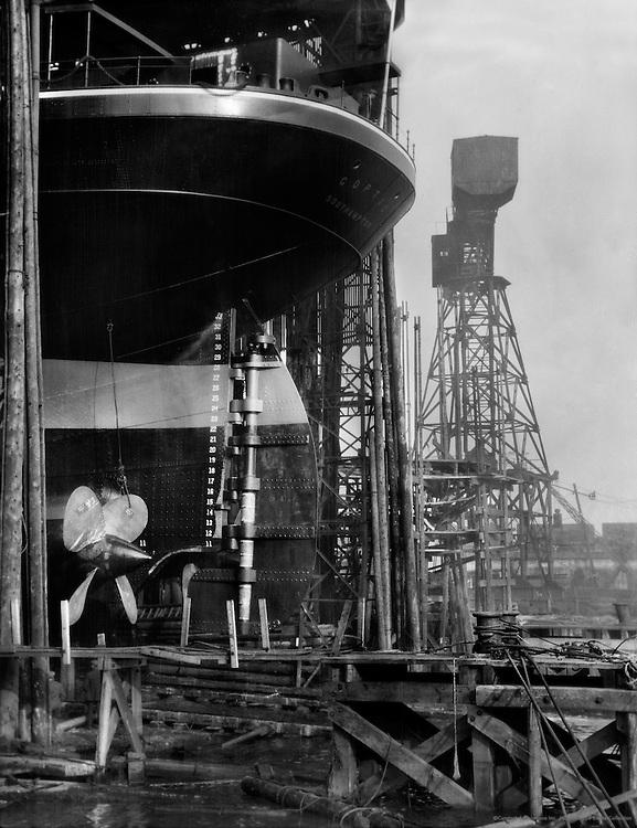 "Hull of ""Coptic,"" Swan Hunter & Wigham Richardson shipyard, England, 1928"