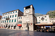 Squares of Arms, the main town square with the clock tower erected in 1602.  Kotor, Montenegro. .<br /> <br /> Visit our MONTENEGRO HISTORIC PLAXES PHOTO COLLECTIONS for more   photos  to download or buy as prints https://funkystock.photoshelter.com/gallery-collection/Pictures-Images-of-Montenegro-Photos-of-Montenegros-Historic-Landmark-Sites/C0000AG8SdQ.sYLU