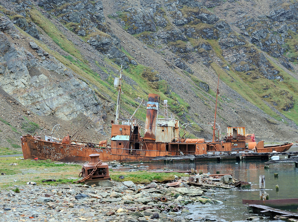 A whaling boat  beached in the ruins of the Grytviken whaling station. Grytviken, South Georgia 20Feb16
