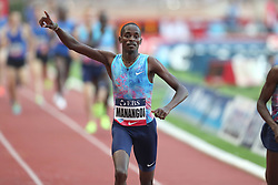 July 21, 2017 - Monaco, Monaco - Elijah Manangoi of Kenya celebrates as he crosses the finish line during the 1500m of the IAAF Diamond League Herculis meeting at the Stade Louis II in Monaco on July 17, 2017. (Credit Image: © Manuel Blondeau via ZUMA Wire)