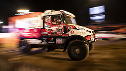 LIMA, Jan. 7, 2019  Ales Loprais of the Czech Republic and co-driver Ferran Marco Alcayna of Spain leave during the departure ceremony at the 2019 Dakar Rally Race, Lima, Peru, on Jan. 6, 2019. The 41st edition of Dakar Rally Race kicked off in Lima, Peru. (Credit Image: © Xinhua via ZUMA Wire)
