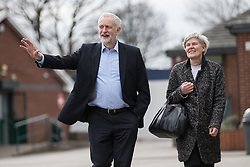 © Licensed to London News Pictures . 22/03/2018. Manchester, UK. JEREMY CORBYN pays a visit to Stretford High School with local MP KATE GREEN , in Trafford , after launching of the Labour Party's local election campaign . Photo credit: Joel Goodman/LNP