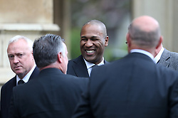 Les Ferdinand outside St Luke's and Christ Church, London, where the memorial service for former Chelsea player Ray Wilkins is being held. Wilkins, who began an impressive playing career at Stamford Bridge and also later coached them, died aged 61 following a cardiac arrest.
