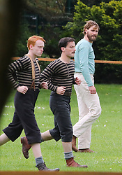 """A park in Altrincham, Manchester is transformed into a Victorian football ground for a match between Darwen v Old Etonian as filming for """"The English Game"""" which is a new drama by """"Downton Abbey """" creator Julian Fellowes begins. The drama is about how modern day football grew and how the FA was formed. Edward Holcroft is pictured (middle with beard)."""