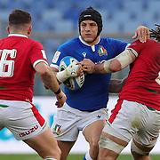 Roma 13/03/2021, Stadio Olimpico<br /> Guinness Six Nations 2021<br /> Italia vs Galles<br /> <br /> Ignacio Brex si libera del placcaggio di Josh Navidi