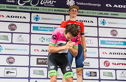 Rigoberto Uran of Team EF Education Cannondale  and Matej Mohoric of Bahrain Merida during Trophy ceremony after the 5th Time Trial Stage of 25th Tour de Slovenie 2018 cycling race between Trebnje and Novo mesto (25,5 km), on June 17, 2018 in  Slovenia. Photo by Vid Ponikvar / Sportida