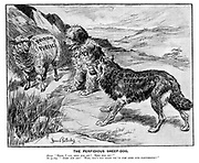 """The Perfidious Sheep-dog. Sheep. """"Here, I say, keep him off! Keep him off!"""" Sheep-dog. """"'KEEP HIM OFF?' Why, don't you know we've JUST GONE INTO PARTNERSHIP?"""""""