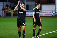 Wimbledon defender Will Nightingale (5) applauds the fans  during the The FA Cup 3rd round match between Fleetwood Town and AFC Wimbledon at the Highbury Stadium, Fleetwood, England on 5 January 2019.