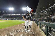 CHICAGO - APRIL 14:  Adam Eaton #12 dumps ice over Carlos Rodon #55 of the Chicago White Sox after Rodon threw a no-hitter against the Cleveland Indians on April 14, 2021 at Guaranteed Rate Field in Chicago, Illinois.  The White Sox won 8-0.  (Photo by Ron Vesely) Subject:   Carlos Rodon; Adam Eaton
