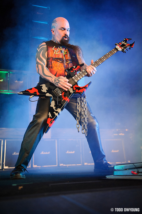 Slayer performing at Mayhem Fest 2012 at Verizon Wireless Amphitheater in St. Louis, Missouri on July 20, 2012.