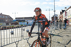 Jip van den Bos (NED) arrives the sign on at Le Samyn des Dames 2019, a 101 km road race from Quaregnon to Dour, Belgium on March 5, 2019. Photo by Sean Robinson/velofocus.com