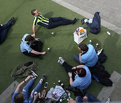 23 April 2017 FA Cup semi-final : Arsenal v Manchester City :<br /> City fans enjoting a picnic close to Wembley Stadium.<br /> Photo: Mark Leech