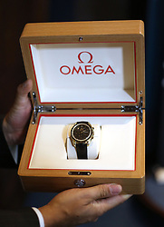 A gold Omega Speedmaster watch presented to Professor Stephen Hawking at The Royal Society in London during a press conference previewing the Starmus science and arts festival taking place in Norway next month.