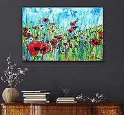 """'POPPIES,' 24"""" x 36,"""" Acrylic on Canvas, 2016, SOLD. <br /> <br /> ABOUT: Who doesn't love poppies!<br /> <br /> My skies always come in first, not sure why, they just do, and they always show me where the painting will go - and give me a glimpse, the truth as to where I am, emotionally. Skies come quick, that's how I know they are my emotions expressing themselves, showing me the way.<br /> <br /> There is no hiding from the canvas - I can try, but it never works. When I approach a blank white canvas, I bring with me my current state of mind. Often, I intend to wish myself away from my emotional state by painting in an opposite direction in order to change my state. This never works, thank God, or my paintings would be garbage - they would simply be copies of nature, or something static - they would not be honest. This painting, 'POPPIES,' was a wonderful exception, where my intention matched the outcome.<br /> <br /> I stepped up to that canvas, in a hopeful, carefree mood, wanting to celebrate life, the feelings I had on a recent walk seeing a field poppies that I don't usually notice. That day, I did, as I took the time to sit there, for the longest time, enjoying the time, just feeling 'happy' - and I didn't ever want to forget this moment. I wanted to remind myself that the Poppies were there and would always be there, that I could always there, if I pay attention. I could always be happy, if pay attention."""