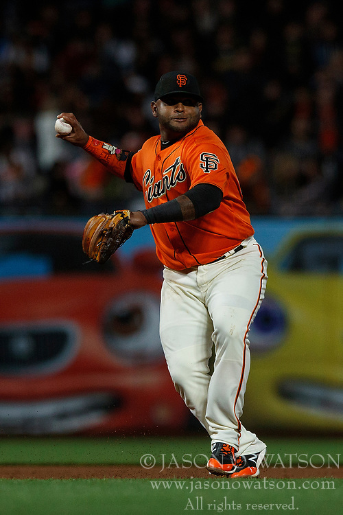 SAN FRANCISCO, CA - JULY 13: Pablo Sandoval #48 of the San Francisco Giants throws to first base against the Oakland Athletics during the sixth inning at AT&T Park on July 13, 2018 in San Francisco, California. The San Francisco Giants defeated the Oakland Athletics 7-1. (Photo by Jason O. Watson/Getty Images) *** Local Caption *** Pablo Sandoval