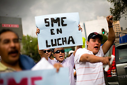 Members of SME, the Mexican Electricians Union, protest the closing of Luz y Fuerza, Mexico's state run power company, on Monday, October 12, 2009.