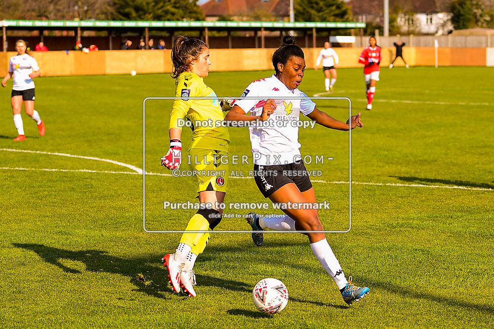 Crayford   England    07 March 2021   The Oakwood<br /> <br /> Charlton goalkeeper Eartha Cumings challenges Lewes's Ini Umotong in the penalty area<br /> <br /> Charlton v Lewes<br /> <br /> The FA Women's Championship<br /> <br /> (Photo: © Jon Hilliger / HilligerPix)