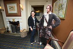 Outlander author Diana<br /> Gabaldon with a cut out pic of Outlander star Sam Heughan, at the Cringletie House hotel,<br /> Edinburgh Rd, Peebles.