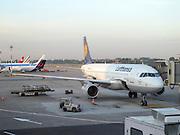 Lufthansa Airbus A320-200 at an airport gate