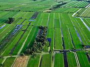 Nederland, Zuid-Holland, Ouderkerk aan de IJssel, 14-09-2019; Zicht op veenweidegebied van de Krimpenerwaard. Eendenkooi ten zuidwesten van Stolwijk, Achterwetering. Polders tussen Ouderkerk en Stolwijk.<br /> View on peat meadow polders west of Stolwijk, South Holland.<br /> <br /> luchtfoto (toeslag op standard tarieven);<br /> aerial photo (additional fee required);<br /> copyright foto/photo Siebe Swart
