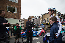 Hannah Barnes (GBR) of CANYON//SRAM Racing smiles for a selfie with a young fan after the Tour de Yorkshire - a 122.5 km road race, between Tadcaster and Harrogate on April 29, 2017, in Yorkshire, United Kingdom.