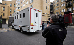 © Licensed to London News Pictures. 07/06/2018. London, UK. Media surround a police van believed to be carrying Jamie Acourt as it arrives at Westminster Magistrates Court in London where he  is charged with conspiracy to supply cannabis. the former suspect in Stephen Lawrence's murder in 1993, was arrested in Barcelona in May and arrived in the UK on Wednesday. Photo credit: Ben Cawthra/LNP