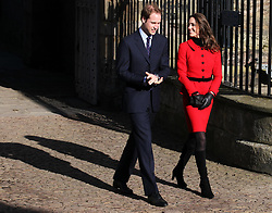 Prince William and Kate Middleton leave the Quadrangle during a visit to the University of St Andrews, where they first met.