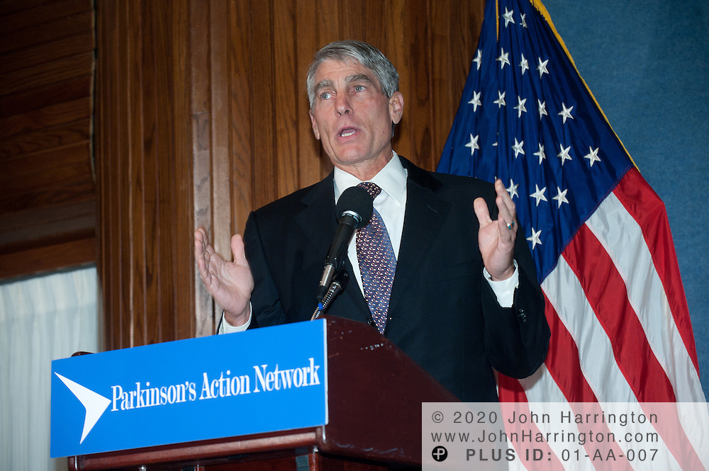 Senator Mark Udall, (D-CO) addresses the attendees of the 2011 Morris K. Udall Awards Dinner honoring Representative Chris Van Hollen (D-MD), Dr. Story Landis, Director of the National Institute for Neurological Disorders and Stroke (NINDS) at the National Institutes of Health (NIH) and Michelle Lane, PAN's Louisiana State Coordinator at the National Press Club in Washington, DC on September 14th, 2011.
