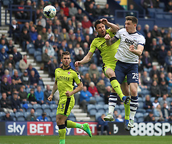 Jordan Hugill of Preston North End (R) heads at goal - Mandatory by-line: Jack Phillips/JMP - 29/04/2017 - FOOTBALL - Deepdale - Preston, England - Preston North End v Rotherham United - Football League Championship