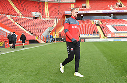 Charlton Athletic's Patrick Bauer walks onto the pitch ahead of warm up