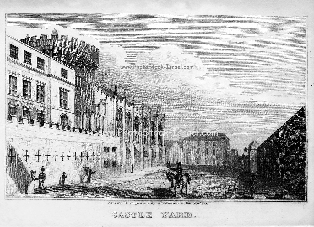 Castle Yard, Dublin From the guide book ' The new picture of Dublin : or Stranger's guide through the Irish metropolis, containing a description of every public and private building worthy of notice ' by Hardy, Philip Dixon, 1794-1875. Published in Dublin in 1831 by W. Curry.