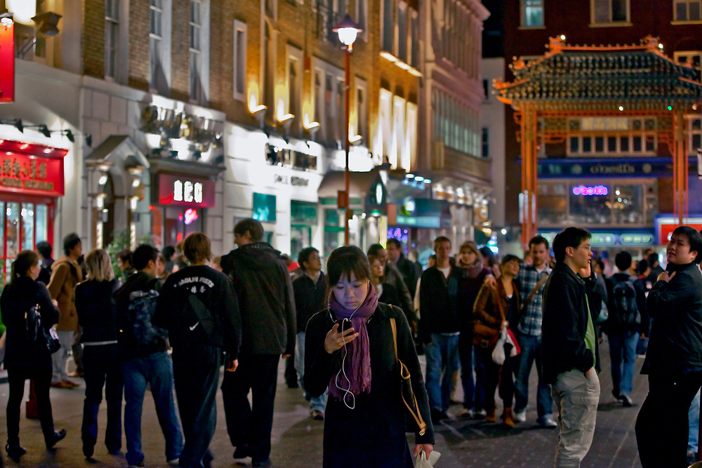 Londyn, 2009-03-05. Chińska dzielnica w Londynie nocą.