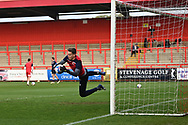 Stevenage goalkeeper Jamie Cumming(1)  warming up during the EFL Sky Bet League 2 match between Stevenage and Cheltenham Town at the Lamex Stadium, Stevenage, England on 20 April 2021.